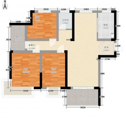 翡翠华庭3室1厅1卫1厨110.00㎡户型图