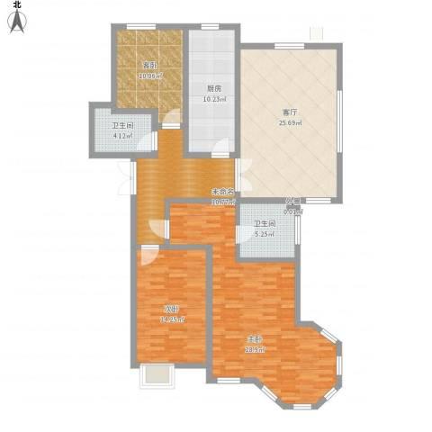 西华公馆3室1厅2卫1厨156.00㎡户型图