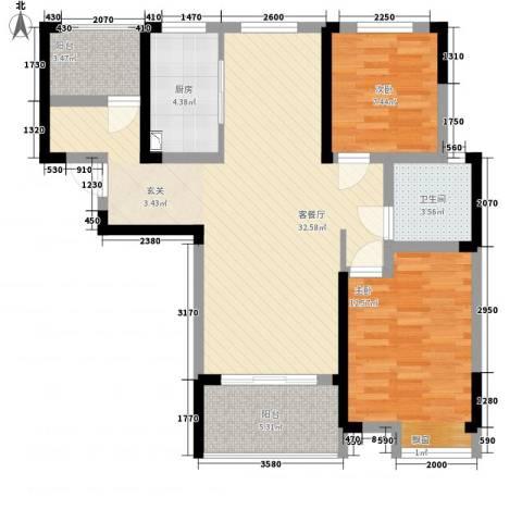翡翠华庭2室1厅1卫1厨69.55㎡户型图