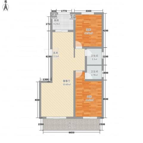 沧州孔雀花园小区(原王官屯旧城改造)2室1厅2卫1厨113.00㎡户型图