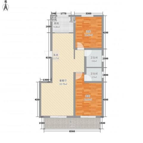 沧州孔雀花园小区(原王官屯旧城改造)2室1厅2卫1厨79.00㎡户型图