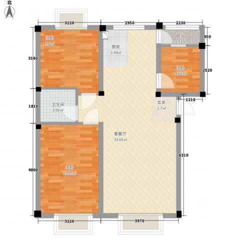 华晋佳苑3室1厅1卫0厨65.84㎡户型图