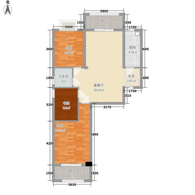宏宇・之心城111.10㎡E户型3室2厅1卫1厨