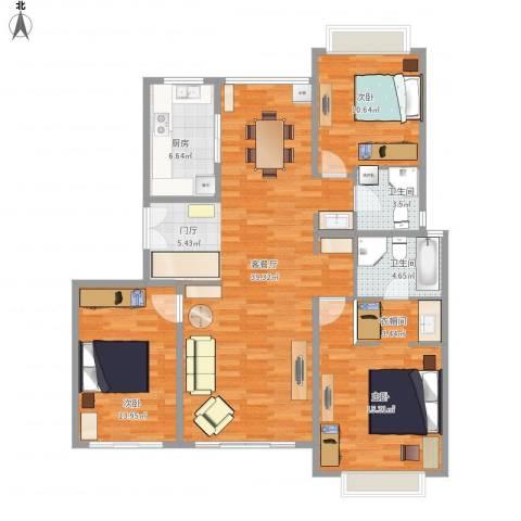古北国际花园2室1厅2卫1厨157.00㎡户型图