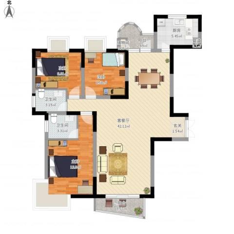 金星家园3室1厅2卫1厨132.00㎡户型图