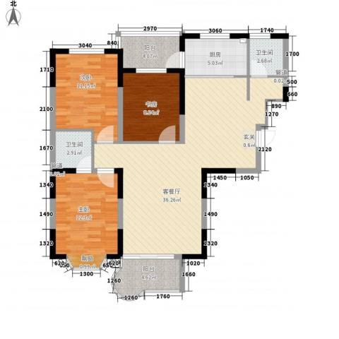 观海苑国际家居广场3室1厅2卫1厨125.00㎡户型图