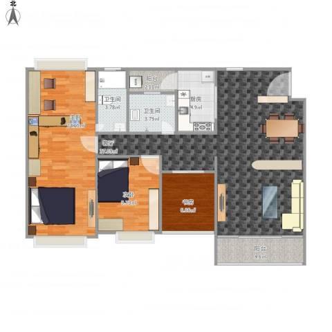 罗村风度花园3室1厅2卫1厨130.00㎡户型图