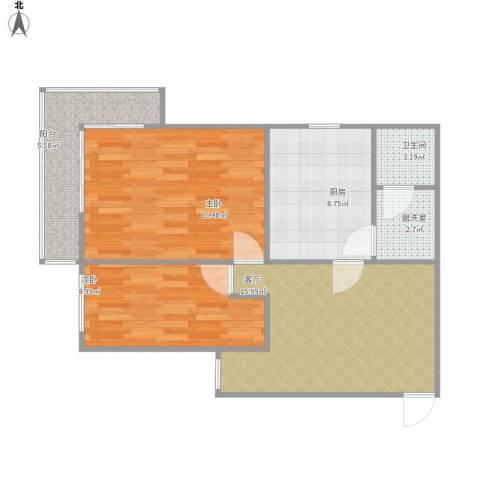 培新街乙5号院2室2厅1卫1厨81.00㎡户型图