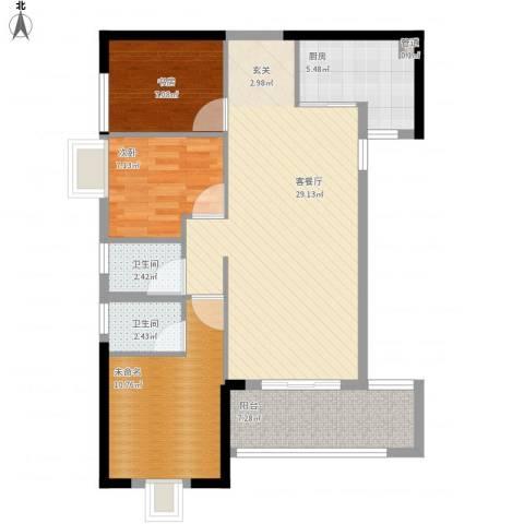 长安大厦2室1厅2卫1厨102.00㎡户型图