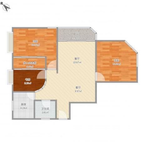 上海壹街区-27-10013室1厅1卫1厨89.00㎡户型图