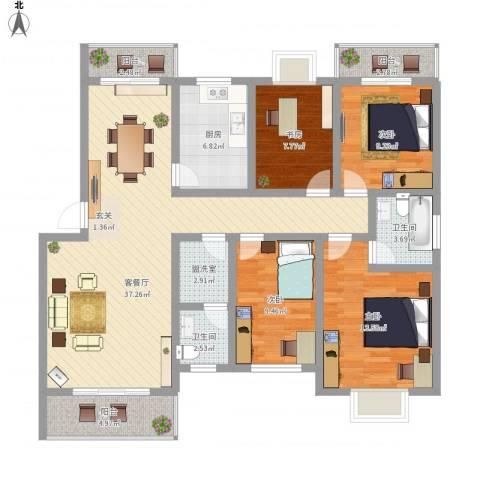 繁华世家4室2厅2卫1厨151.00㎡户型图