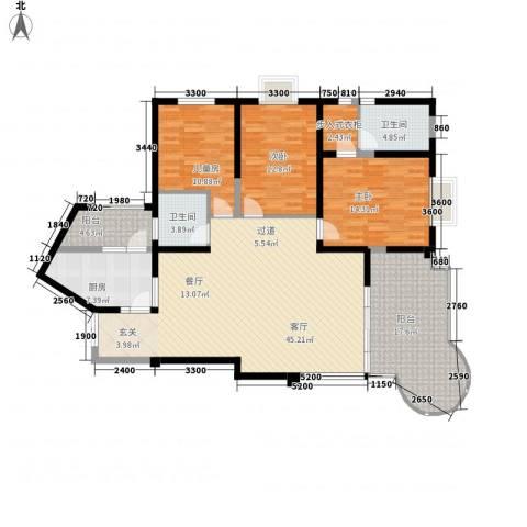 龙汇花园3室1厅2卫1厨146.00㎡户型图