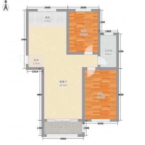领航国际花园2室1厅1卫0厨73.14㎡户型图