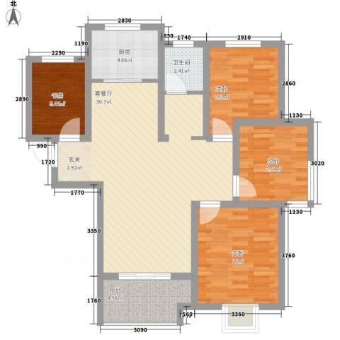 翡翠华庭4室1厅1卫1厨74.04㎡户型图