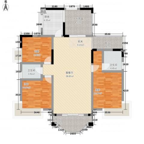 锦绣江山3室1厅2卫1厨123.66㎡户型图