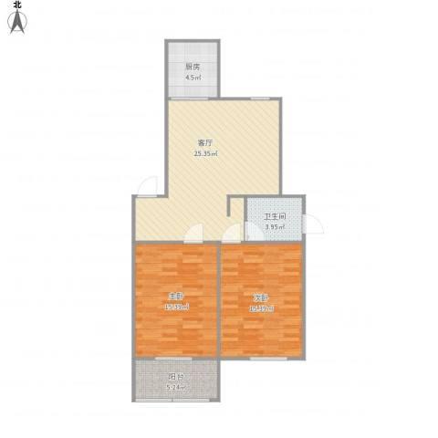 华强阳光新城2室1厅1卫1厨94.00㎡户型图