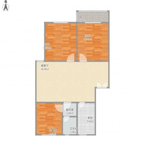 绿怡居西区3室2厅1卫1厨101.00㎡户型图