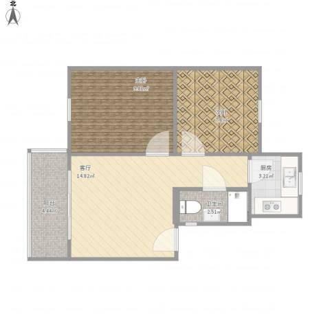 机场新村2室1厅1卫1厨58.00㎡户型图