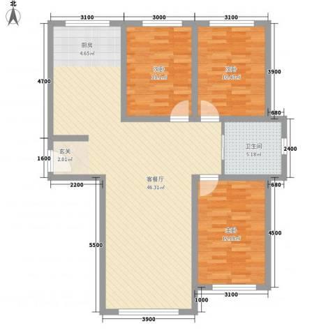 人禾金华苑3室1厅1卫0厨84.24㎡户型图