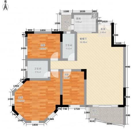 盈翠豪园3室1厅2卫1厨117.00㎡户型图