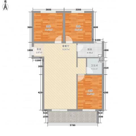 沧州孔雀花园小区(原王官屯旧城改造)3室1厅1卫1厨114.00㎡户型图