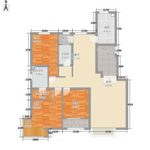 皇家壹里3室1厅2卫1厨135.00㎡户型图