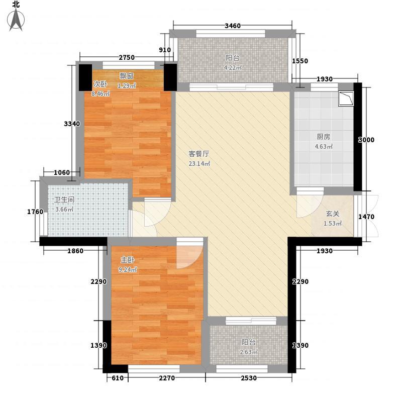绿茵温莎堡香堤81.58㎡84栋01/04户型2室2厅1卫1厨