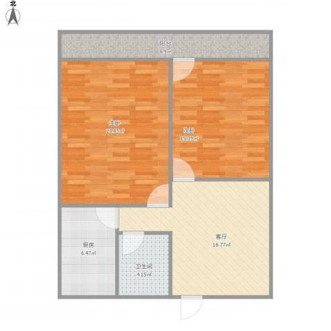 七里堡小区2室1厅1卫1厨95.00㎡户型图