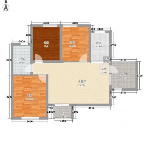 奥林匹克花园3室1厅1卫1厨76.33㎡户型图