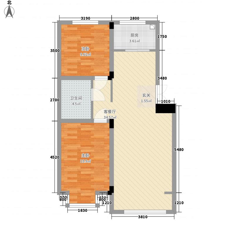 浙商・嘉苑88.80㎡C地块1号楼B户型2室2厅1卫1厨