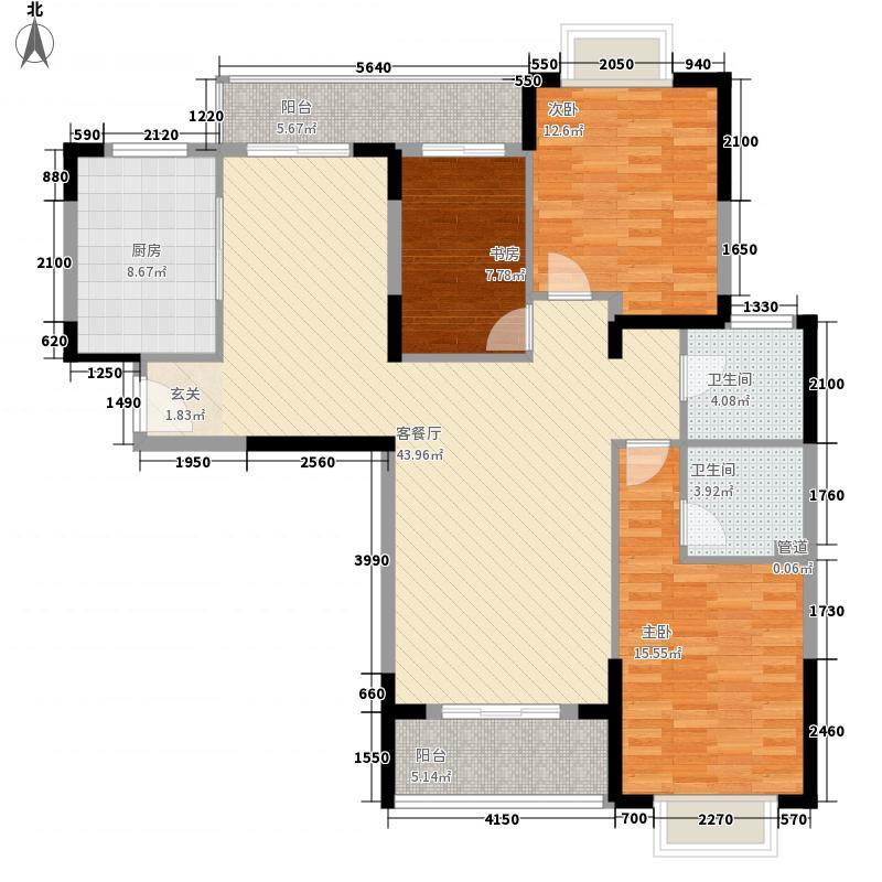 东方明居13.66㎡清雅阁(4、5型)户型3室2厅2卫1厨