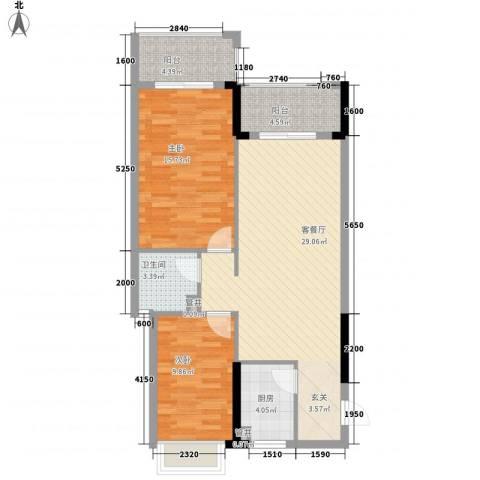 怡景苑2室1厅1卫1厨71.22㎡户型图
