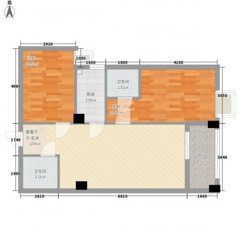 财富广场2室1厅2卫1厨64.04㎡户型图