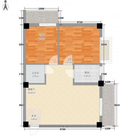 财富广场2室1厅1卫1厨58.19㎡户型图