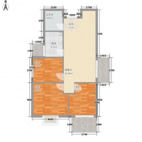 万豪尊品3室1厅1卫1厨73.92㎡户型图