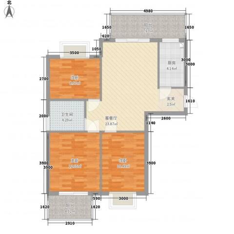万豪尊品3室1厅1卫1厨74.98㎡户型图