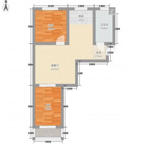 人禾金华苑2室1厅1卫0厨44.16㎡户型图