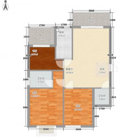万豪尊品3室1厅2卫1厨75.59㎡户型图