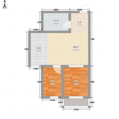 人禾金华苑2室1厅1卫0厨58.00㎡户型图