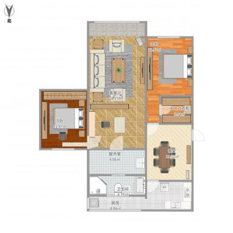 鹏欣家园3室2厅1卫1厨122.00㎡户型图