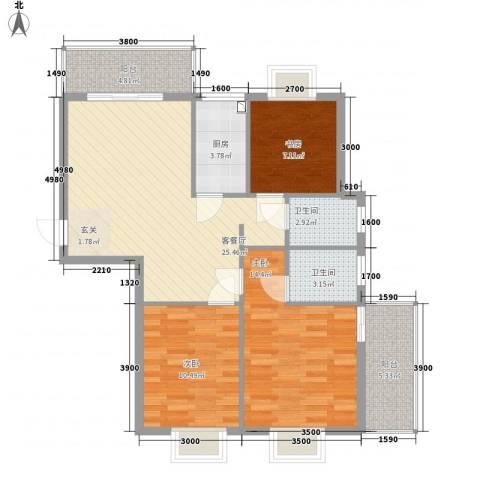 万豪尊品3室1厅2卫1厨77.73㎡户型图