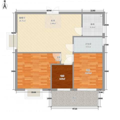 万豪尊品3室1厅1卫1厨71.48㎡户型图