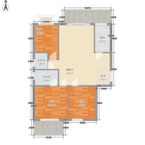 万豪尊品3室1厅2卫1厨82.33㎡户型图