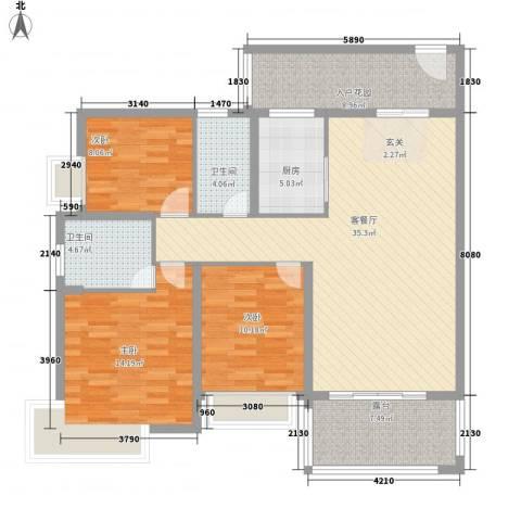 广汇・东湖城3室1厅2卫1厨97.96㎡户型图