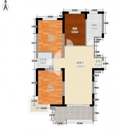观海苑国际家居广场3室1厅1卫1厨71.47㎡户型图
