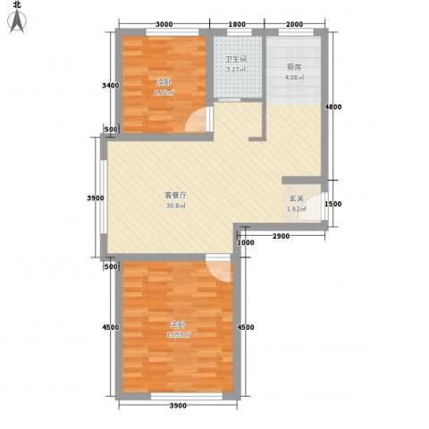 人禾金华苑2室1厅1卫0厨73.00㎡户型图
