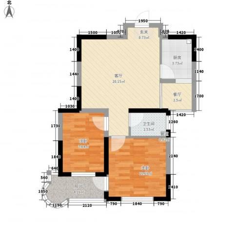 观海苑国际家居广场2室2厅1卫1厨75.00㎡户型图