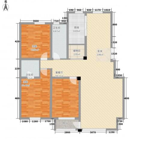 广厦新城2室1厅2卫1厨162.00㎡户型图