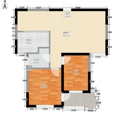 观海苑国际家居广场2室1厅1卫1厨88.00㎡户型图