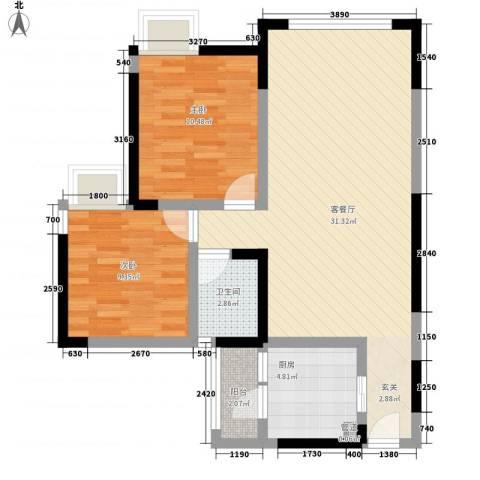 人和天地2室1厅1卫1厨82.00㎡户型图